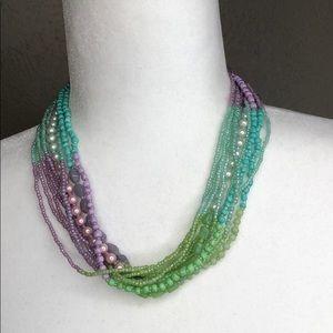 Vintage Pastel beaded statement necklace